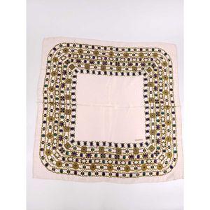 CHANEL Vintage Silk Brocade Jewelry Square Scarf